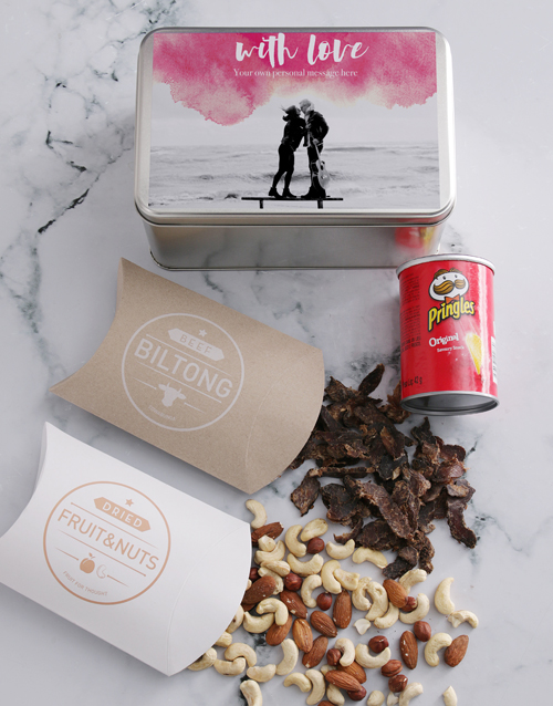 personalised: Personalised Photo With Love Snack Tin!