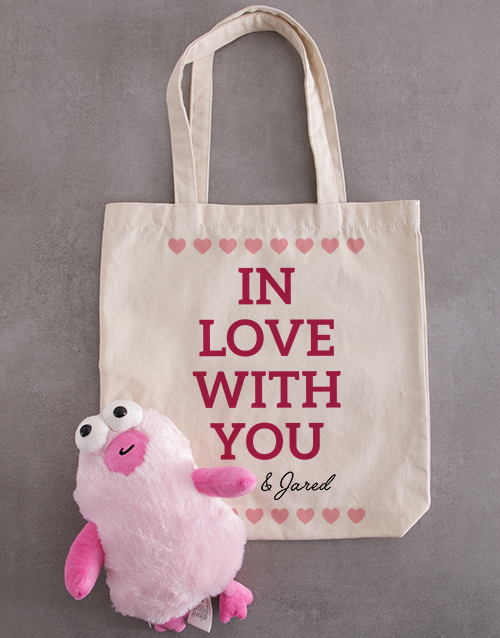 valentines-day: Personalised In Love Teddy Tote Bag!