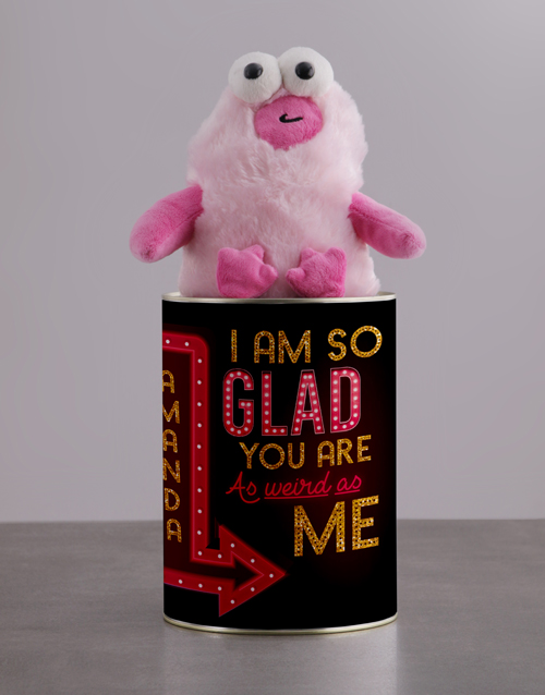 anniversary: Personalised Weird As Me Teddy Tin!