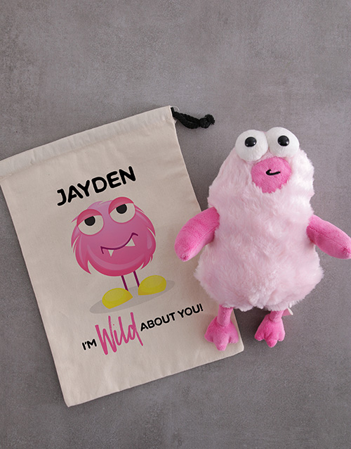 teddy-bears: Personalised Monster Teddy Drawstring Bag!