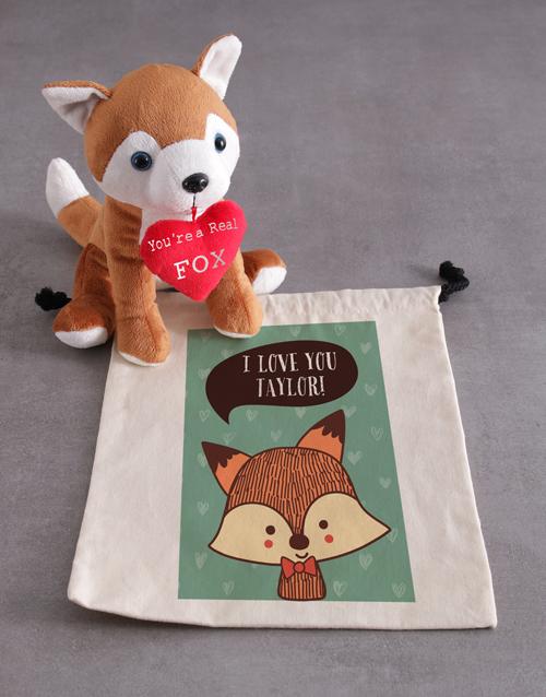teddy-bears: Personalised Fox And Drawstring Hamper!