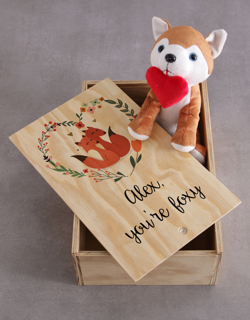teddy-bears: Personalised Fox And Wooden Slide Hamper!