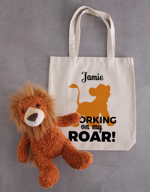 teddy-bears: Personalised Tote And Lion Roar Hamper!