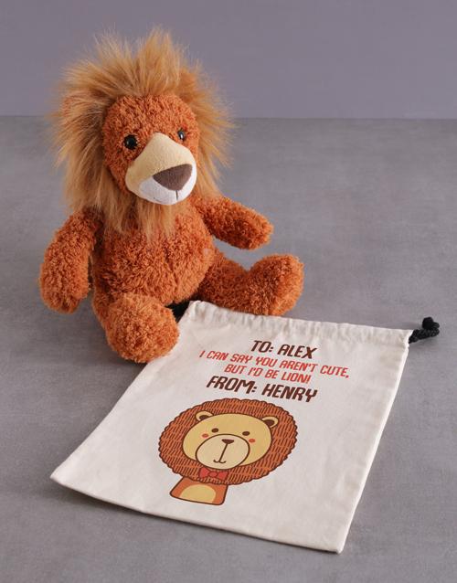 teddy-bears: Personalised Drawstrings And Lion Hamper!