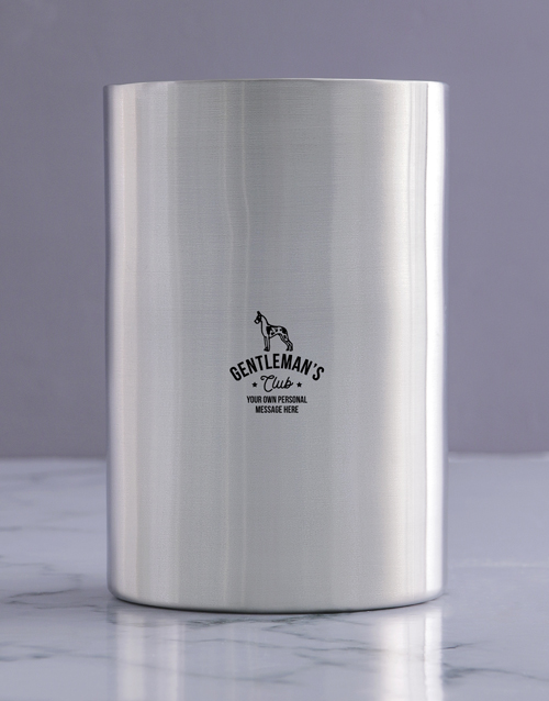 birthday: Personalised Gentleman Club Silver Ice Bucket!