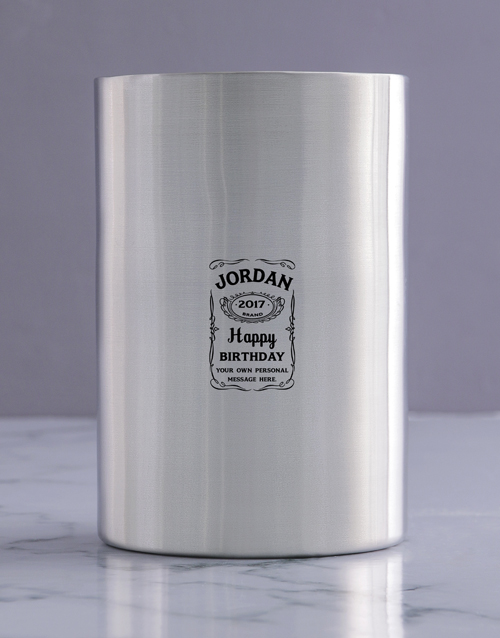 birthday: Personalised Brand Birthday Silver Ice Bucket !