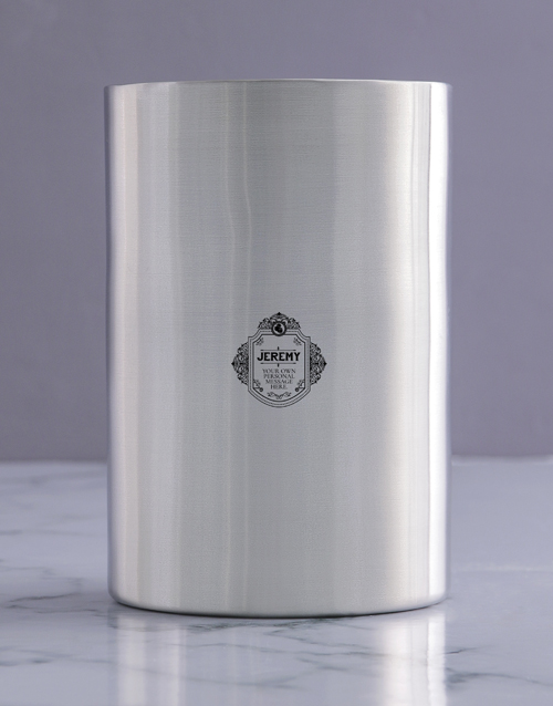 fathers-day: Personalised Badge Silver Ice Bucket !