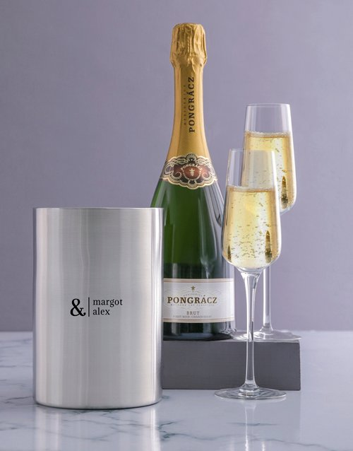 valentines-day: Personalised Simple Couples Silver Ice Bucket!