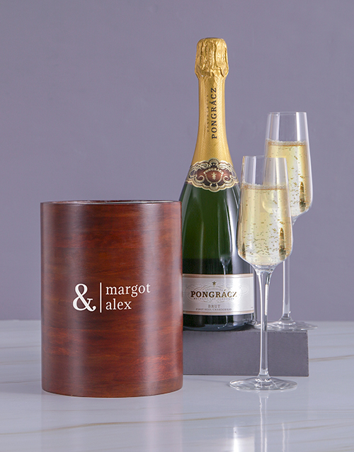 valentines-day: Personalised Simple Couples Wooden Ice Bucket!