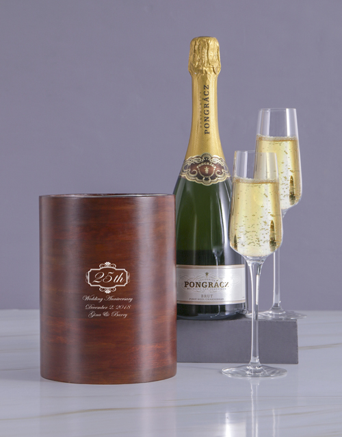 valentines-day: Personalised Wedding Anniversary Wooden Ice Bucket!