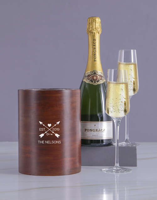 valentines-day: Personalised Arrow Heart Wooden Ice Bucket !