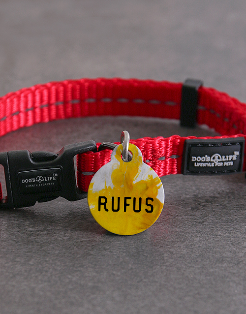 personalised: Personalised Yellow Paint ID Tag And XS Collar!