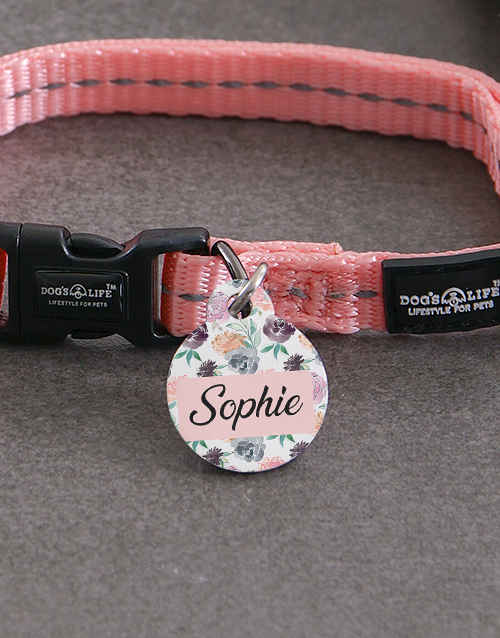 personalised: Personalised Rose ID Tag And XS Collar!