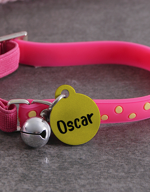 personalised: Personalised Yellow ID Tag And Pink Cat Collar!