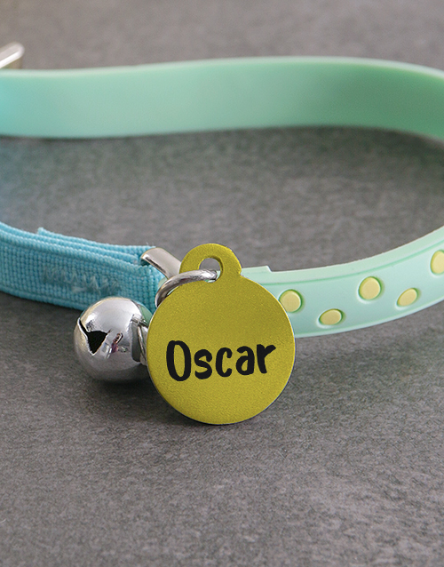 personalised: Personalised Yellow ID Tag And Cat Collar!