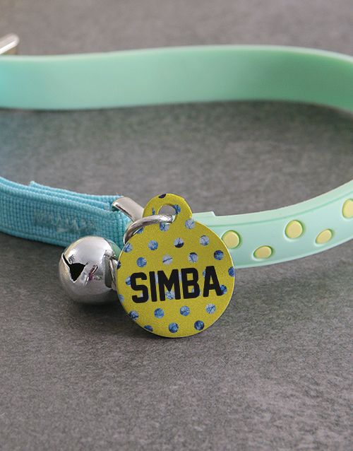 personalised: Personalised Yellow ID Tag And Polka Cat Collar!