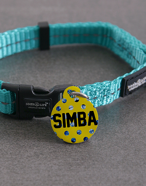 pets: Personalised Blue Polka ID Tag And XS Collar!