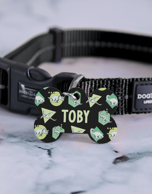 personalised: Personalised Dinosaur ID Tag And Collar!