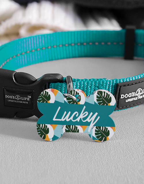 personalised: Personalised Tropical Bone ID Tag And Collar!