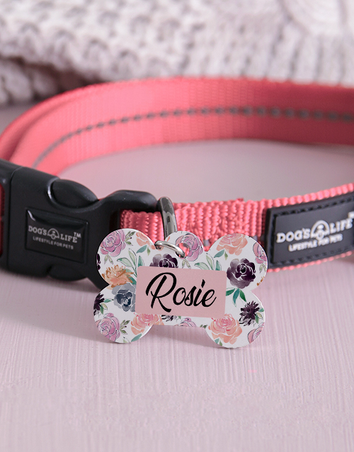 personalised: Personalised Bone Rose ID Tag And Collar!