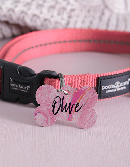 personalised: Personalised Paint Bone ID Tag And Collar!