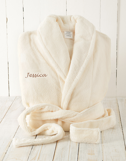 bath-and-body: Cream Fleece Gown Personalised!