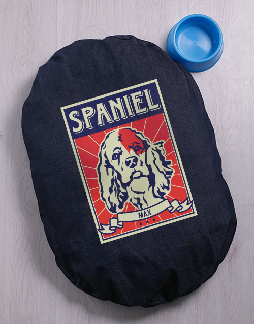 personalised: Personalised Spaniel Denim Bed And Bowl!