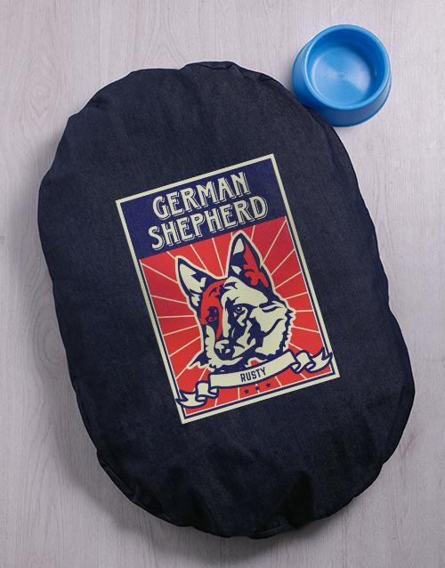 personalised: Personalised German Shepherd Denim Bed And Bowl!