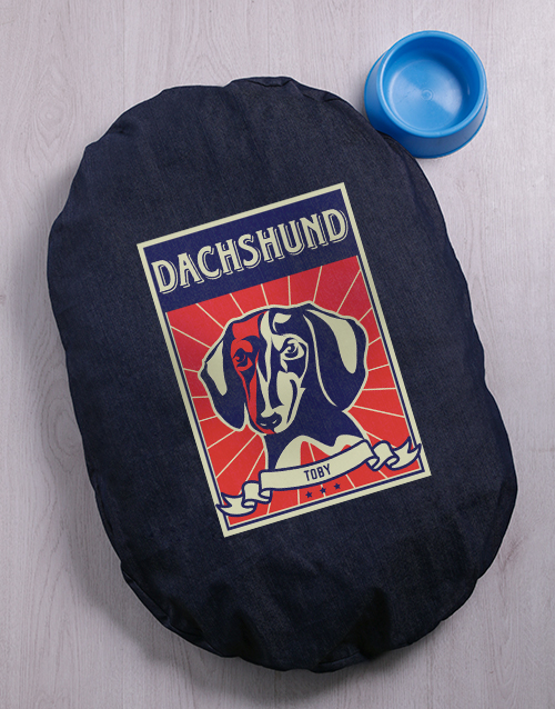 personalised: Personalised Dachshund Denim Bed And Bowl!