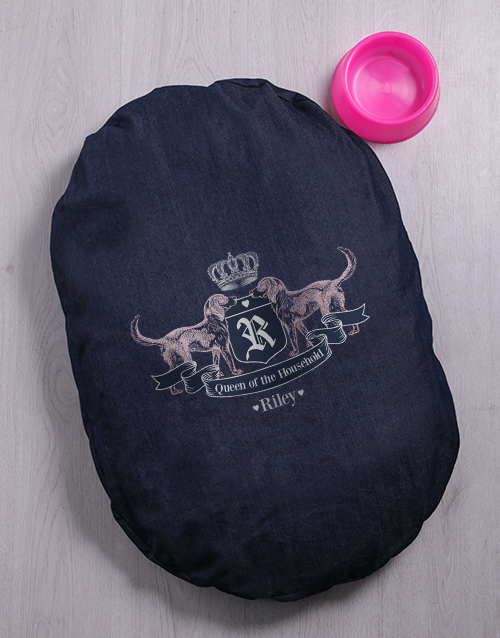 personalised: Personalised Queen Of The House Denim Bed And Bowl!