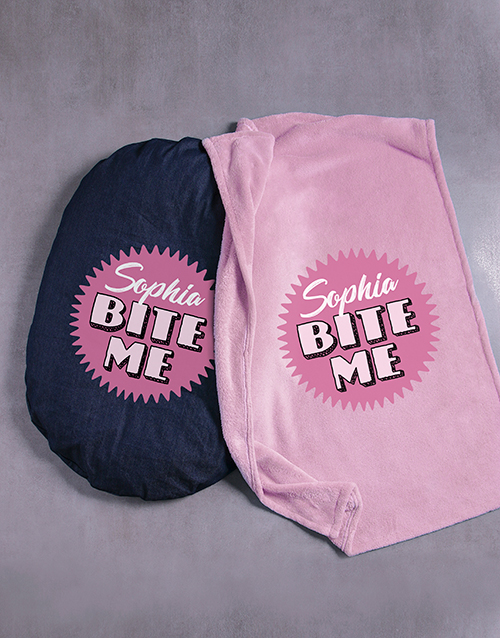personalised: Personalised Bite Me Dog Bed And Blanket!