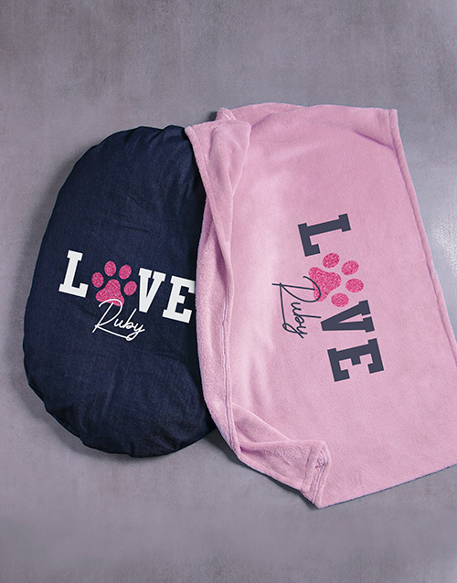personalised: Personalised Love Dog Bed And Blanket!