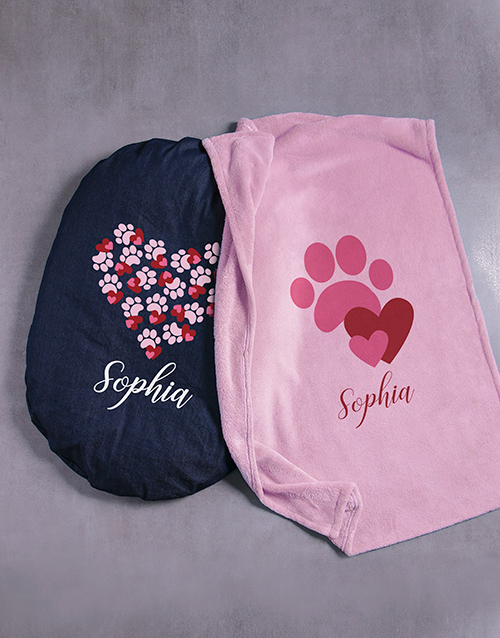 personalised: Personalised Pawprint Hearts Dog Bed And Blanket!