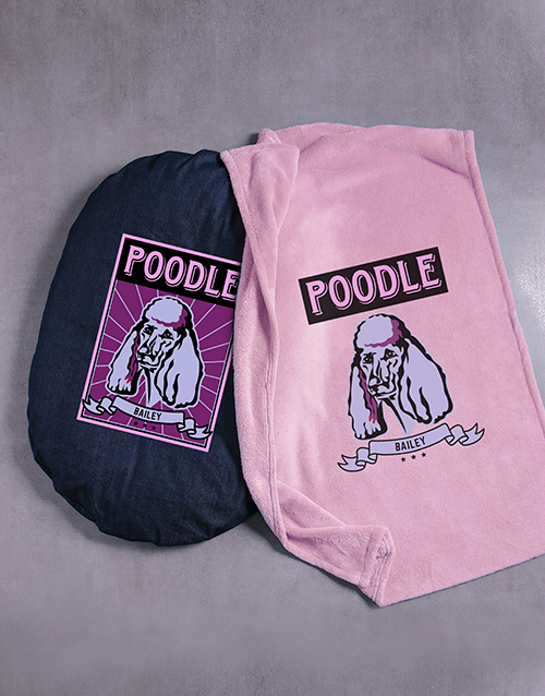 personalised: Personalised Pink Poodle Dog Bed And Blanket!