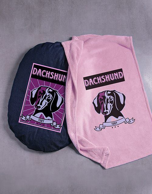 personalised: Personalised Pink Dachshund Dog Bed And Blanket!
