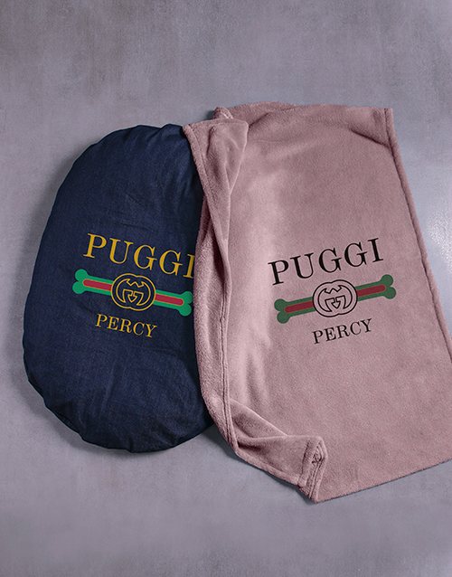personalised: Personalised Puggi Dog Bed And Blanket!