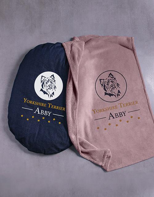 personalised: Personalised Yorkie Dog Bed And Blanket!