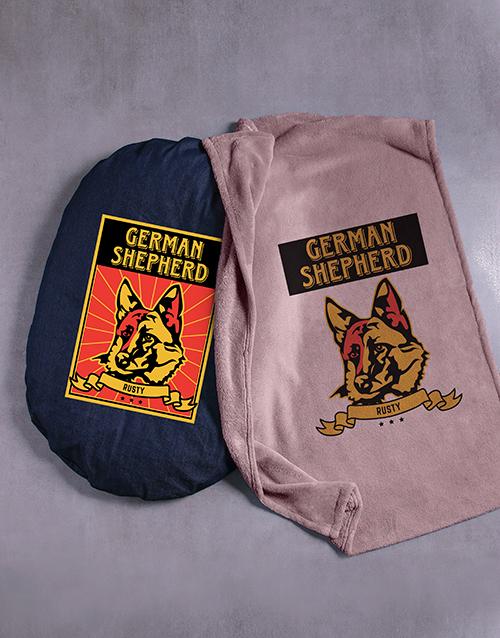personalised: Personalised Taupe German Shepherd Bed And Blanket!