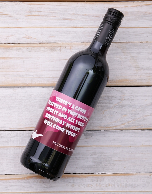 birthday: Personalised Genie in a Bottle Red Wine!