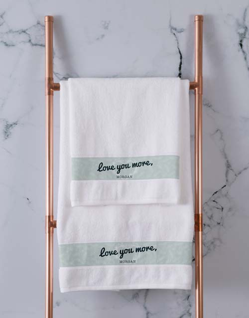 anniversary: Personalised Love You White Towel Set!