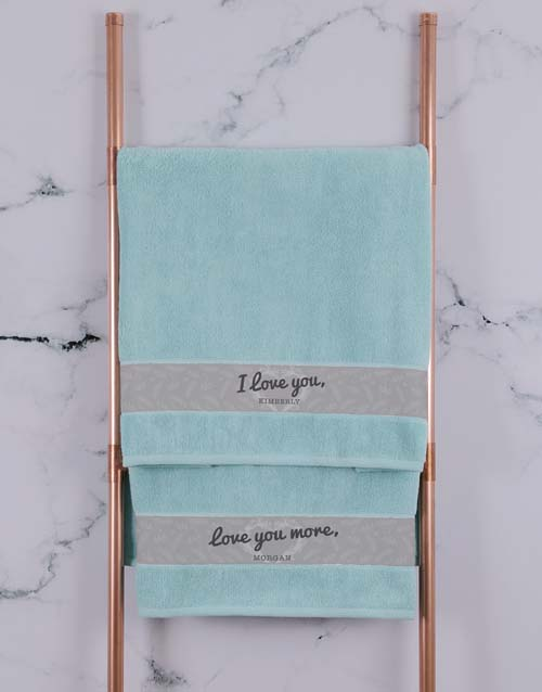 valentines-day: Personalised Love You Duck Egg Towel Set!