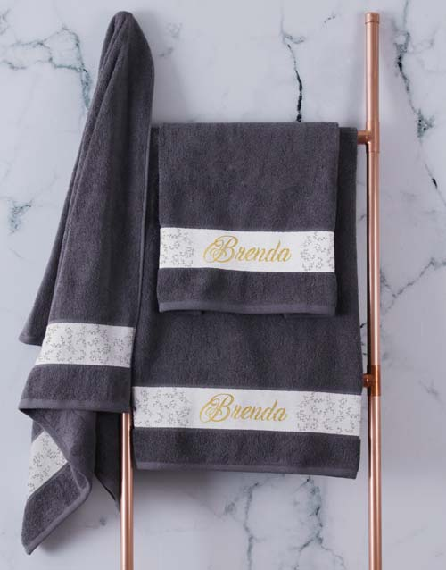 mothers-day: Personalised Leaf Foilage Charcoal Towel Set!