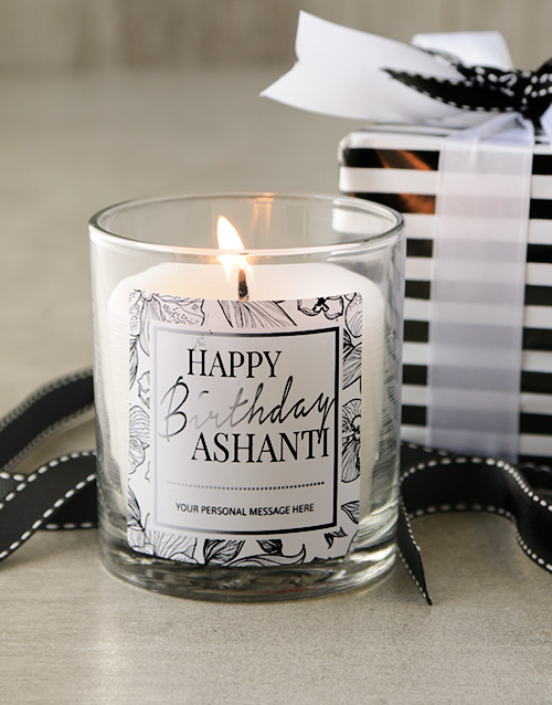 birthday: Happy Birthday Monochrome Personalised Candle !