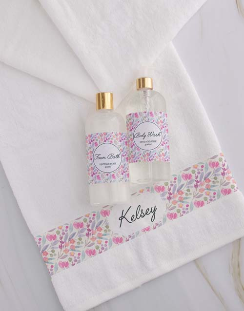 house-warming: Personalised Floral White Towel Set!