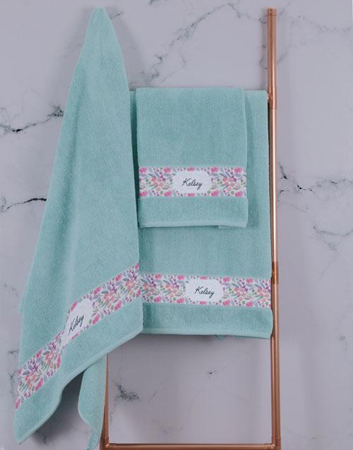 birthday: Personalised Floral Duck Egg Towel Set!