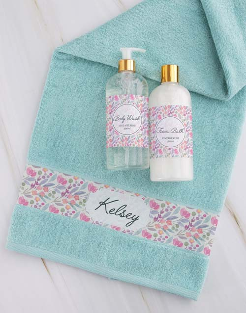 christmas: Personalised Floral Duck Egg Towel Gift Set!