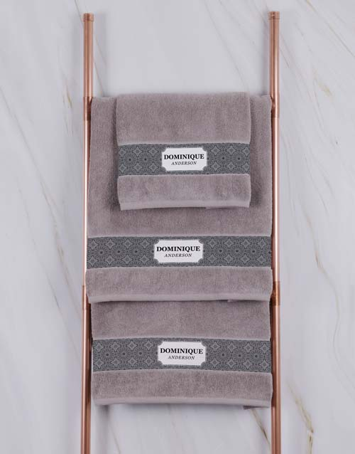 mothers-day: Personalised Damask Natural Towel Set!
