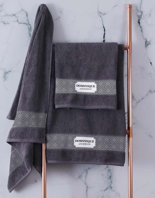 mothers-day: Personalised Damask Style Charcoal Towel Set!