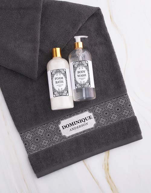 birthday: Personalised Damask Charcoal Towel Gift Set!