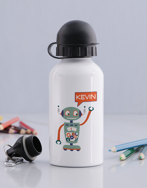 kids: Personalised Robot Boys Bottle!